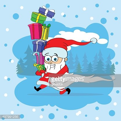Santa Claus Run Carry Gift Box Merry Christmas Character Greeting