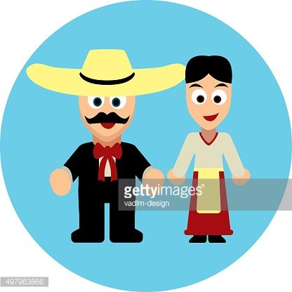 Traditional costumes icon - Mexicans and Latinos