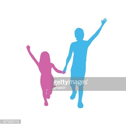 Children Silhouette, Full Length Boy and Girl