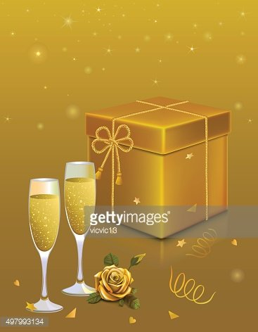 gold gift box. rope bow .rose . two glass champagne ...