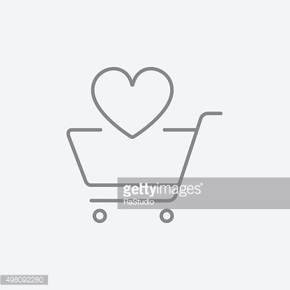 Shopping cart with heart line icon