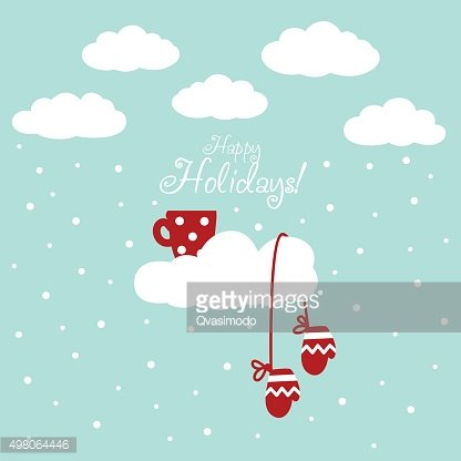 Christmas and New Year illustration with red cup and mittens