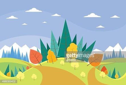 Autumn Landscape Mountain Forest Road Blue Cloud Sky With Sun