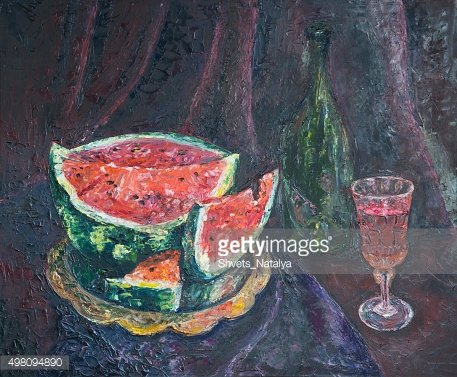Still Life with Watermelon, oil painting
