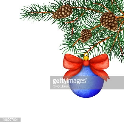 Watercolor pine tree branches, cones, ball with bow