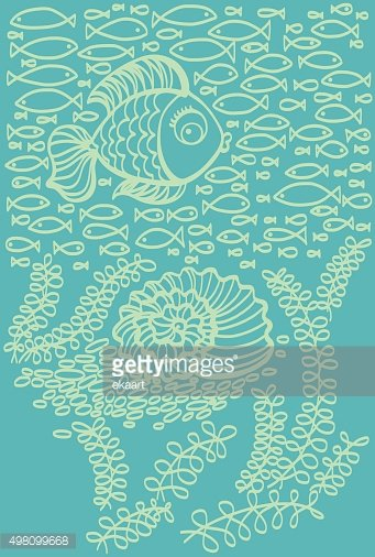 Fishes in sea with shell and seaweed. Cartoon illustration