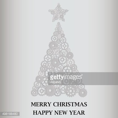 Christmas tree with star on top of gears. Gray background.