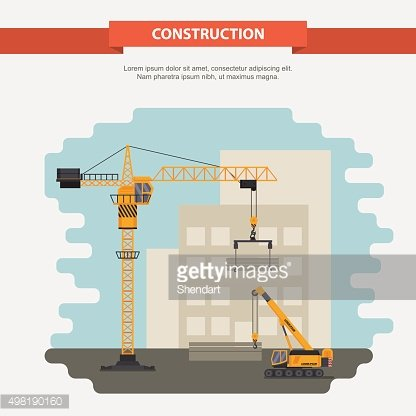 Two construction cranes. office building. flat