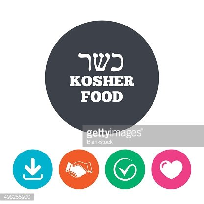 Kosher food product sign icon. Natural food