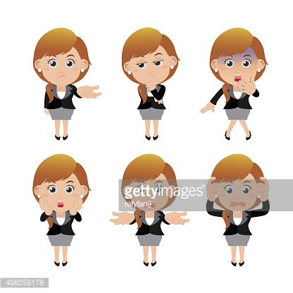 Set of businesswoman characters in different poses