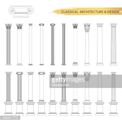 Classical architectural column drawings in set. Vector drawing design elements