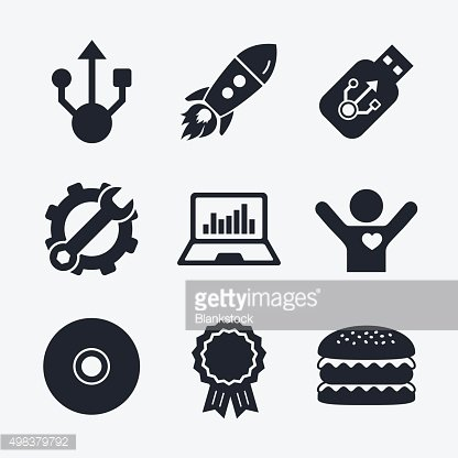 Usb flash drive icons. Notebook or Laptop pc