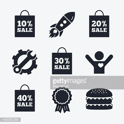 Sale bag tag icons. Discount symbols