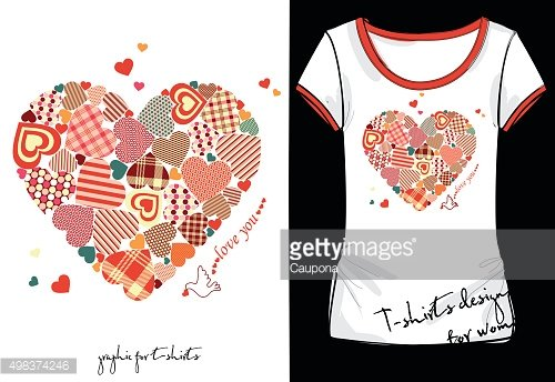 T-shirt design with hearts