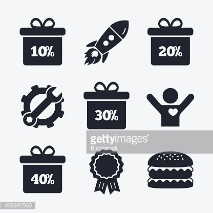 Sale gift box tag icons. Discount symbols