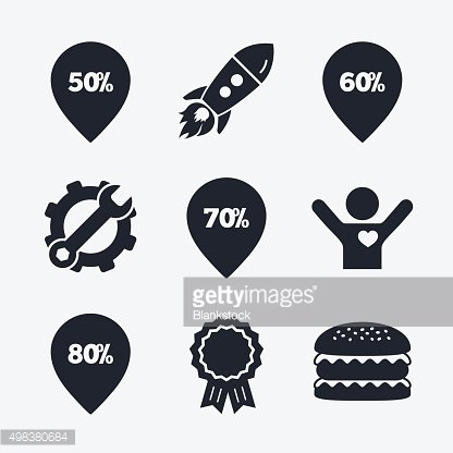 Sale pointer tag icons. Discount symbols