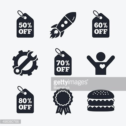 Sale price tag icons. Discount symbols