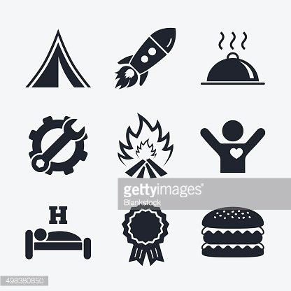 Hot food, sleep, camping tent and fire signs