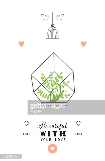 Stylish romantic invitation with terrarium and flowers.