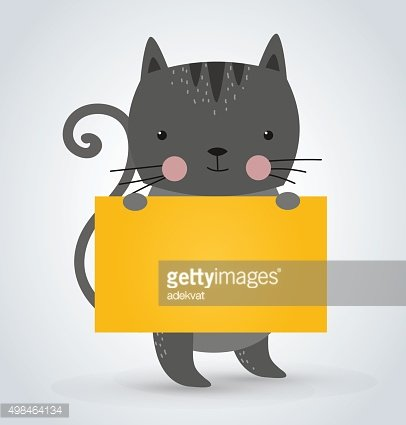 Cat pet animal holding clean welcome yellow board banner vector