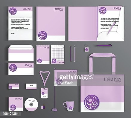 Corporate Identity set with a purple circle
