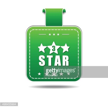 3 Star Green Vector Icon Design