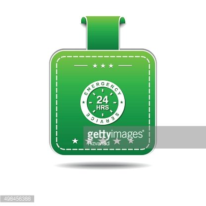 24 Hours Emergency Service Green Vector Icon Design