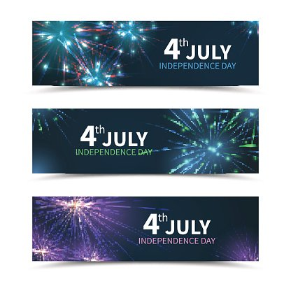 usa independence day banners vector set with fireworks