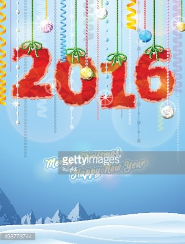 New Year 2016 of crumpled paper as christmas decoration