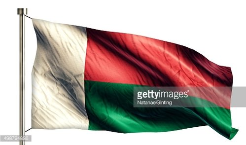 Madagascar National Flag Isolated 3D White Background