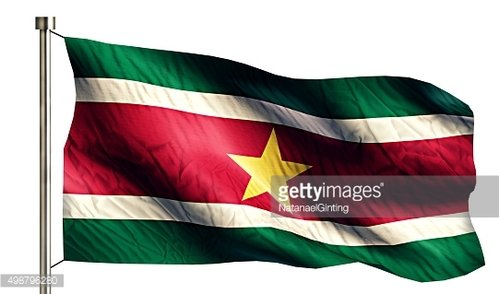 Suriname National Flag Isolated 3D White Background