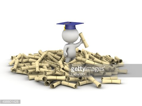3D Character and Pile of Diplomas