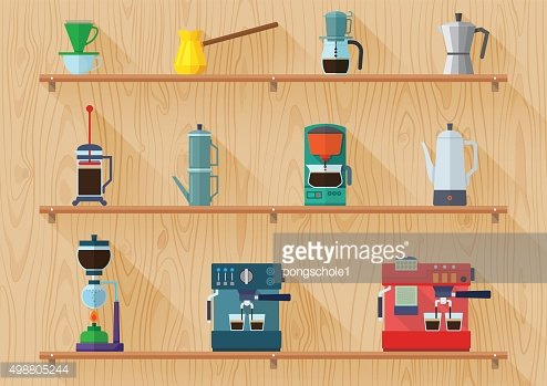 all type of coffee maker on shelf