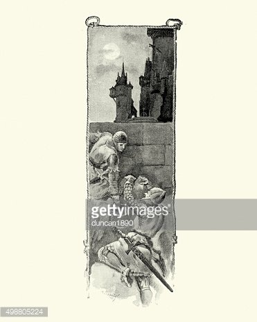 Knights climbing the ramparts of a castle
