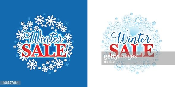 Winter sale on new year ball and snow. Christmas sale.