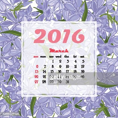 2016 Calendar decorated with flower seamless background.