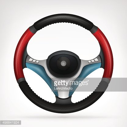 racing steering wheel with red side handle isolated