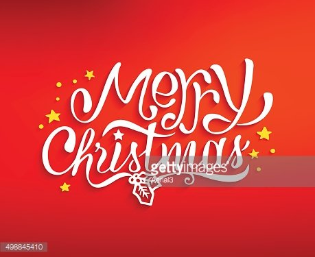 Merry Christmas greetings card with lettering