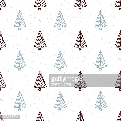 Seamless pattern with hand drawn christmas tree. Doodle holiday background