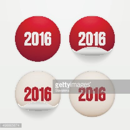 Set of realistic New Year white circle Stickers