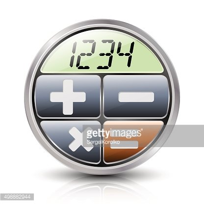 Calculator icon with reflection and shadow