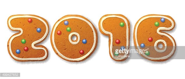 Vector inscription 2016 in shape of Christmas gingerbreads