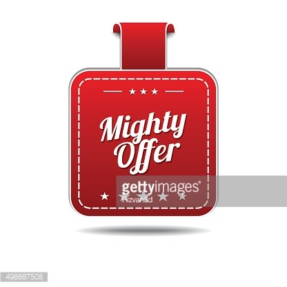 Mighty Offer Red Vector Icon Design