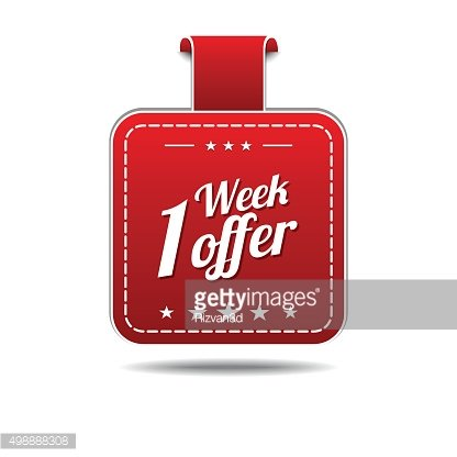 1 Week Offer Red Vector Icon Design