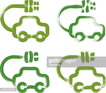 Set of hand-drawn green eco car icons, electric powered cars,