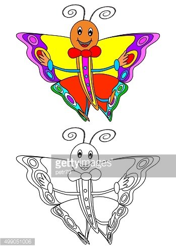 Smiling colorful butterfly as a coloring book for children