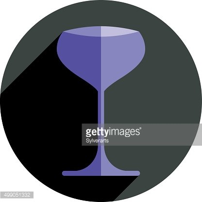 Alcohol graphic element, sophisticated champagne glass.