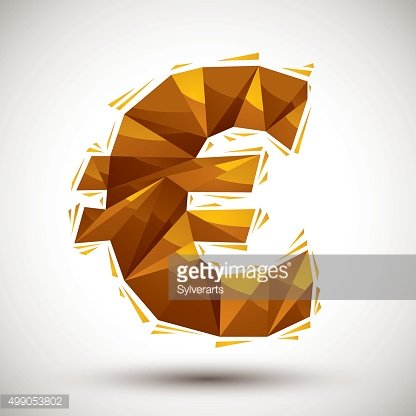 Golden euro sign geometric icon made in 3d modern style