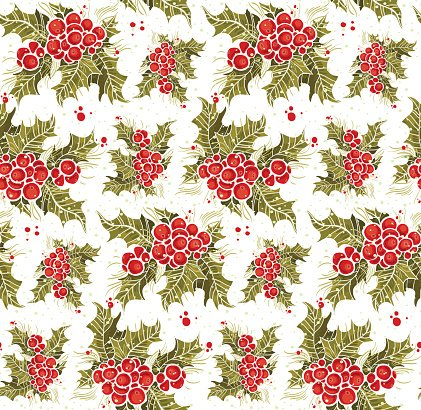 print, seamless pattern with a holly branch