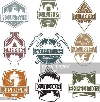 set of vintage grunge labels mountain adventure ,hiking and clim